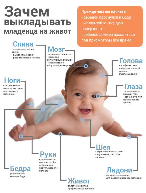Когда новорожденного можно класть на животик , с какого возраста выкладывать?
