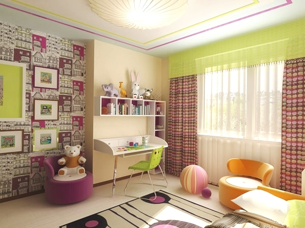 Комбинированные обои для детской комнаты с фото: как поклеить покрытие нескольких видов или цветов?